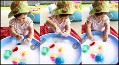 Toddler summer activity - sensorial play in water and foam