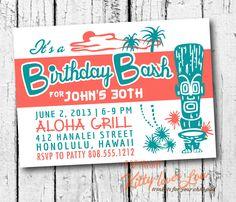 PRINTABLE Birthday Party Invitation Coastal Hawaiian Retro invite 5 x 7 hi-res files Beachy Cottage diy. $18.00, via Etsy.