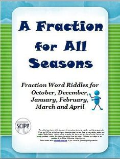 This 33 page resource contains six different fraction riddle resources which provide students practice in identifying fractional parts in lowest terms, understanding equivalent fractions as well as identifying basic percents. It is a fun and engaging way Math Resources, Math Activities, Math Games, Teaching Fractions, Dividing Fractions, Word Riddles, Math Lesson Plans, Math Lessons, Equivalent Fractions