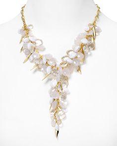 Lariat style wedding statement necklace