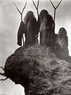 three fates, wyrd sisters, three crones of glory