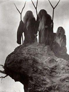 three fates, wyrd sisters, three crones of glory