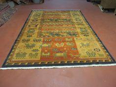 6' X 9' OSTA Carpets Belgium Made Tribal Design  Wool RUG Animal Objects Nice #Tribal