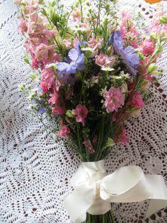 Natural & rustic bouquet of larkspur, scabiosa, september flower & lisianthus by Apple Blossom Flowers