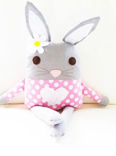 This listing is for a 6 page color PDF bunny doll sewing pattern. The document you will receive includes a detailed step by step tutorial on how to