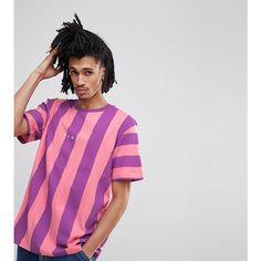 Puma Vertical Stripe T-Shirt In Pink Exclusive To ASOS ($40) ❤ liked on Polyvore featuring men's fashion, men's clothing, men's shirts, men's t-shirts, pink, mens short sleeve sport shirts, mens pink t shirt, mens crew neck shirts, mens short sleeve shirts and mens short sleeve t shirts