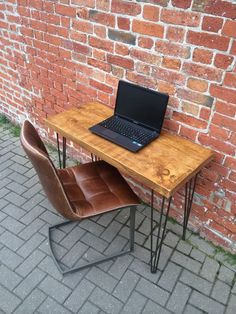 Rustic Industrial Plank Desk with Metal Hairpin by RAWfurnitureuk