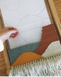 Today on the loom I am recreating this piece in a slightly new colour way. The first piece SOLD as soon as I posted it! Today on the loom I am recreating this piece in a slightly new colour way. The first piece SOLD as soon as I posted it! Weaving Wall Hanging, Weaving Art, Weaving Patterns, Tapestry Weaving, Loom Weaving, Knitting Patterns, Weaving Textiles, Rug Loom, Tapetes Diy