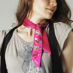 Hermes Silk Twill Scarf Twilly Twil Strawberry Pink 062620s 01
