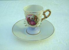tea cup vintage | VINTAGE DEMITASSE TEA CUP & SAUCER - JAPAN - FREE SHIPPING IN USA