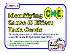 Use these 24 task cards to help your students identify cause and effect relationships in text. Each card has a short story and asks students to identify both a cause and an effect from the text. $