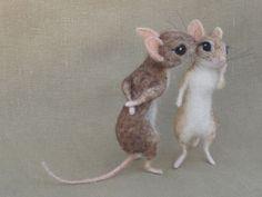 Ago feltrata mouse coppia 01.12 topi di casa delle bambole in scala