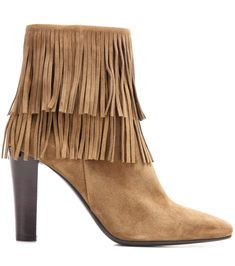Brown fringed suede ankle boots