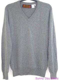 Scotty McGregors Mens Sweater Cashmere Vintage Long Sleeve V Neck Gray L XL  #ScottyMcGregors #VNeck