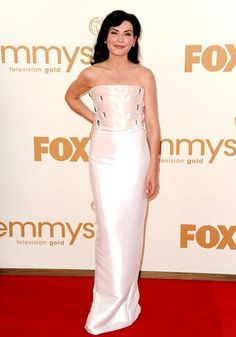 <b>WORST:</b> Julianna Margulies<br> She may have nabbed the Emmy for Best Actress in a Drama, but Julianna Marguilies wasn't winning any awards for her white Armani Prive gown that appeared to be covered in crystal eyeballs.
