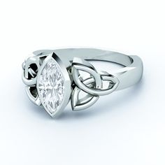 Engagement Ring - Triquetra Celtic Solitaire Marquise Diamond Engagement Ring bezel set