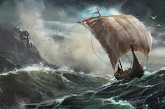 Viking ship on Behance This is by David Seguin; amazing.
