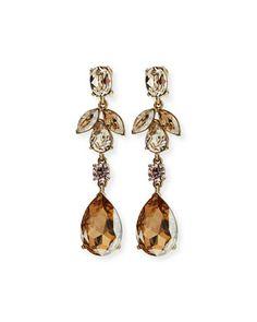 Bold+Crystal+Teardrop+Clip-On+Earrings,+Golden+by+Oscar+de+la+Renta+at+Bergdorf+Goodman.