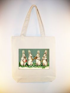 Vintage Musical Bunny Rabbit Band on Canvas Tote by Whimsybags