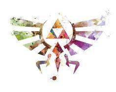 Legend of Zelda Art Print Hylian Crest Print Triforce by artsaren Legend Of Zelda Breath, The Legend Of Zelda, Legend Of Zelda Tattoos, Majora Mask, Wind Waker, Breath Of The Wild, Canvas Prints, Art Prints, Canvas Art