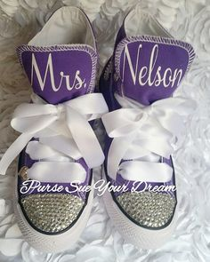 Personalized Custom Bridal Swarovski Crystal Wedding Converse