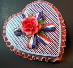1976 heart-shaped Valentine candy box, in Bicentennial colors.