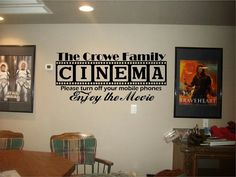 Tiny home theater Movie Rooms - Cinema Theatre customized sign home movie theater vinyl wall decor mural decal Movie Theater Decor, Home Theater Setup, Home Theater Design, Home Theater Seating, Cinema Theatre, Cinema Room, Ideas Habitaciones, Home Theater Projectors, Home Theater