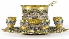 Carl Faberge punch set of gilded silver, decorated with cloisonne enamel     Approx. 1896-1908