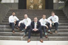 LDS Temple Mormon Wedding | Washington, DC, Wedding | Navy & seafoam green groomsmen portraits