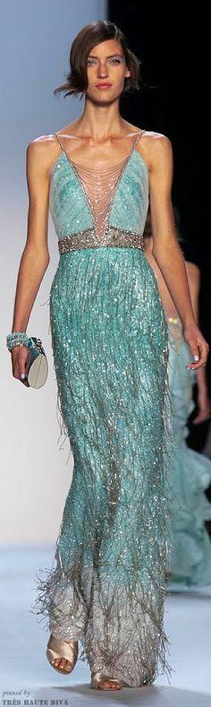#NYFW Badgley Mischka Spring 2014 RTW blue gown