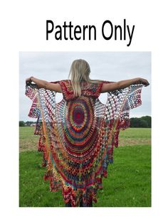 Wish I knew how to crochet. Crochet Vest Pattern, Bohemian Vest,  Stevie Nicks Style, Shawl Cape Vest