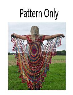 Bohemian Vest Crochet Pattern Boho Style --- Stevie Nicks Style, Boho Shawl Cape…