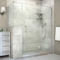 Buy the DreamLine Brushed Nickel Direct. Shop for the DreamLine Brushed Nickel Unidoor-X High x Wide x Deep Right Hinged Frameless Shower Enclosure with Clear Glass and x Buttress Panel and save. Corner Shower Enclosures, Bathtub Enclosures, Frameless Shower Enclosures, Frameless Shower Doors, Douche Design, Bathtub Shower, Master Shower, Master Bathroom, Chic Bathrooms