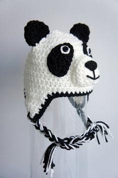 Your place to buy and sell all things handmade Crochet Panda, Crochet Baby Hats, Loom Hats, Animal Hats, Kids Hats, Crotchet, Panda Bear, Headbands, Crochet Patterns
