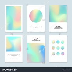 Set of colorful holographic cards. Abstract vector invitations with holographic elements. Page Layout Design, Web Design, Logo Design, Branding Design, Palette Pastel, Palette Diy, Bussiness Card, Type Setting, Makeup Designs