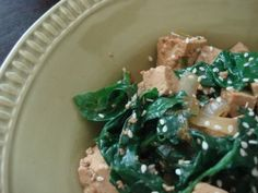 Sesame Tofu and Wilted Spinach