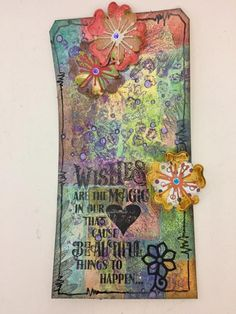 Check out all these layers.... love this tag. Student work by TDugnolle in Inventive Ink Colorful Mixed Media Effects class. #afflink #marjiekemper   http://shareasale.com/r.cfm?b=253536&u=702304&m=29190&urllink=www%2Ecraftsy%2Ecom%2Fpaper%2Dcrafts%2Fclasses%2Finventive%2Dink%2Dcolorful%2Dmixed%2Dmedia%2Deffects%2F39967&afftrack=