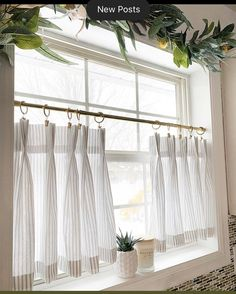 Discover recipes, home ideas, style inspiration and other ideas to try. White Kitchen Curtains, Kitchen Window Decor, Kitchen Window Coverings, Farmhouse Window Treatments, Bathroom Window Curtains, Bathroom Window Treatments, Window Treatments Living Room, Tier Curtains, Farmhouse Curtains