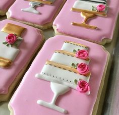 Wedding Cake Icing, Wedding Cake Cookies, Floral Wedding Cakes, Cool Wedding Cakes, Birthday Cookies, Wedding Cake Toppers, Decorated Wedding Cookies, Iced Cookies, Cookies Et Biscuits