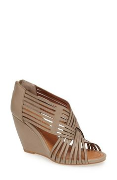 Taupe leather woven wedge