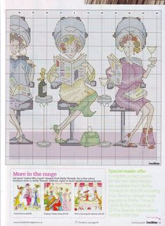 0 point de croix 3 femmes chez le coiffeur - cross stitch 3 ladies At the hairdresser's part 2