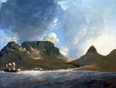 Hodges painting of the Cape In the slaver São José Paquete Africa sank with her human cargo. Table Mountain Cape Town, Wall Art Wallpaper, Le Cap, Maritime Museum, Beach Camping, Old World Charm, Antique Maps, Historical Pictures, African History