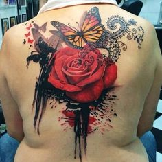 rose with butterfly back tattoo - 40 Eye-catching Rose Tattoos