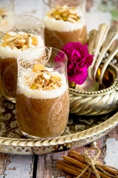 Lebanese Meghli - Spiced rice flour pudding with nuts and coconut flakes
