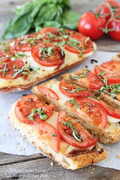 Caprese Garlic Bread- Ciabatta, butter, garlic, mozzarella, balsamic vinegar, tomato, pepper, basil.