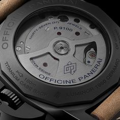 The P.9100 calibre on the back of the case of the Luminor 1950 3 Days Chrono Flyback Automatic Ceramica 44mm PAM00580 the first chronograph calibre with automatic winding completely developed and assembled in the Officine Panerai manufacture in Neuchâtel.  Discover more on www.panerai.com  #panerai #officinepanerai #pam580 #chronograph #flyback