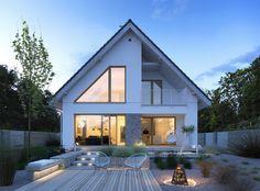 Dostępny - niewielki dom z nowoczesnymi akcentami Exterior Paint Colors For House, Dream House Exterior, Home Building Design, Home Design Plans, Small House Design, Modern House Design, Modern Bungalow Exterior, House Extension Design, Village Houses