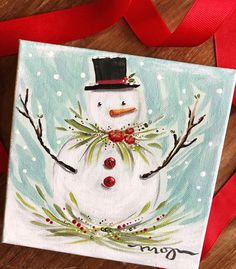 It's an original acrylic on canvas, measuring with a thick inch depth. This painting is boxy & cute & ready to display in a bookcase or hang on a gallery wall. Christmas Signs, Christmas Snowman, Christmas Decorations, Christmas Ornaments, Snowman Crafts, Christmas Projects, Holiday Crafts, Christmas Paintings On Canvas, Christmas Canvas