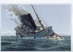 RMS Lusitania. Sunk by a German U-boat  on May 7, 1915. Painting by Ken Marschall.