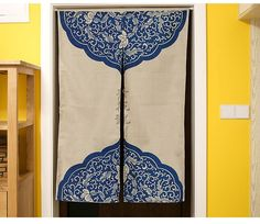Exceptionnel Traditional Chinese Style Door Curtains Blue And White Porcelain Prints  Cotton Linen Kitchen/Bedroom Patition